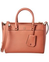 9f6dc3ed6 Tory Burch Light Rose Gold Saffiano Leather Robinson Metallic Small Double-zip  Tote - Lyst