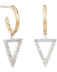 Adina Reyter - 14k & Silver 0.18 Ct. Tw. Diamond Triangle Charm Hoops - Lyst