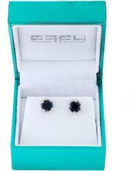 Effy - 14k White Gold, Diamonds And Sapphire Stud Earrings - Lyst
