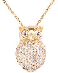Gabi Rielle - Gold Over Silver Cz Owl Pendant Necklace - Lyst