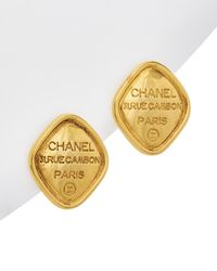 Chanel - Gold-tone Diamond Shape Clip-on Earrings - Lyst