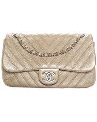 Chanel - Gold Quilted Leather Studded Shoulder Bag - Lyst