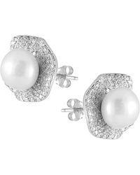 Splendid - Rhodium Plated Silver 8-8.5mm Freshwater Pearl & Cz Earrings - Lyst