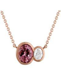 Tate - 18k Rose Gold 1.21 Ct. Tw. Diamond & Sapphire Necklace - Lyst