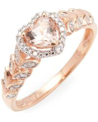 Rina Limor - 10k Rose Gold Morganite And Diamond Halo Heart Engagement Ring - Lyst