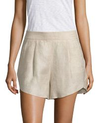 MILLY - Linen Petal Shorts - Lyst