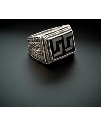 Konstantino - Men's Prometheus Silver 6.00 Ct. Tw. Onyx Etched Ring - Lyst