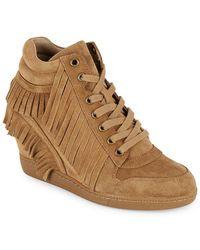 c753e44cc442 Lyst - Ash Genialbis Buckled Wedge Sneaker in White