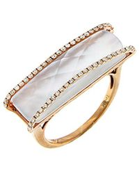 Meira T - 14k Rose Gold 7.15 Ct. Tw. Diamond, Blue Topaz, & Mother-of-pearl Ring - Lyst