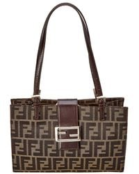 Lyst - Fendi Authentic Zucca Canvas Leather Browns Shoulder Bag in Brown ff4d7ab8e4b64