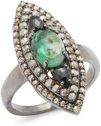 Bavna - Diamond, Emerald & Sterling Silver Ring - Lyst