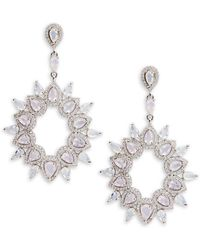 Saks Fifth Avenue - Cubic Zirconia Silvertone Earrings - Lyst