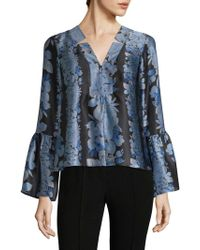 Nanette Lepore - Floral Print Bell Sleeve Top - Lyst