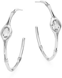 "John Hardy - White Topaz & Sterling Silver Hoop Earrings/11⁄2"" - Lyst"