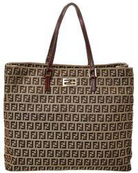 4ea1f0c957b Lyst - Fendi Canvas Handbag Zucca Pattern in Natural