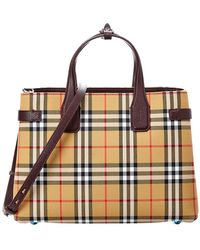 cb3b8982481a Lyst - Burberry The Medium Banner In Riveted Leather And House Check Tan