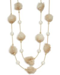 Natasha Couture - Tiered Mink Fur Pom-pom Necklace - Lyst