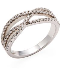 Nephora - 14k White Gold & 0.40 Total Ct. Diamond Curvy Crossover Band Ring - Lyst