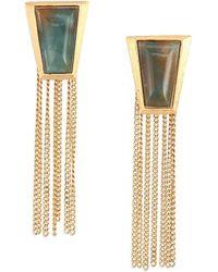 Stephanie Kantis - Impose Green Moss Agate Chain Fringe Earrings - Lyst