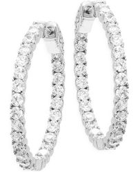 "Saks Fifth Avenue - Crystal Hoop Earrings/1.21"" - Lyst"
