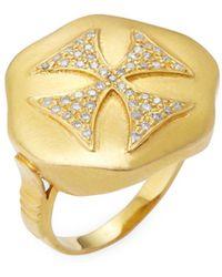 Artisan - 14k Gold Diamond Cross Ring - Lyst