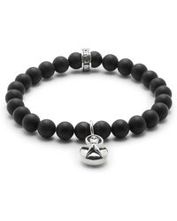 King Baby Studio - Silver Star & 8mm Onyx Beaded Charm Bracelet - Lyst