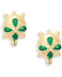 Temple St. Clair - Emerald, Diamond & 18k Yellow Gold Turtle Earrings - Lyst