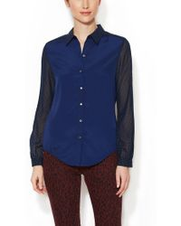 Wren - Dotted Colorblock Blouse - Lyst