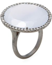 Meira T   Silver, Chalcedony & 0.53 Total Ct. Pave Diamond Diamond Ring   Lyst