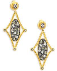 Freida Rothman - Crystal And Sterling Silver Drop Earrings - Lyst