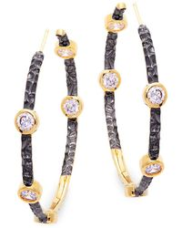 Freida Rothman - Starry Night Sterling Silver Hoop Earrings - Lyst