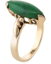Estate Fine Jewelry - Estate 14k Yellow Gold & Marquise Cut Jade Ring - Lyst