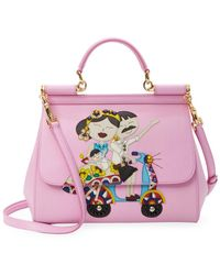 Lyst - Dolce   Gabbana Sicily Medium Dg Family Patch Bag in Gray d58cc1037852a