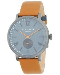 Ted Baker - Polished Stainless Steel Leather Strap Watch - Lyst