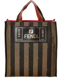 Fendi Striped Tote Bag - Brown