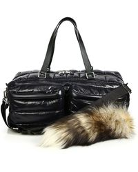 Moschino - Quilted Nylon & Fur Puffer Bag - Lyst