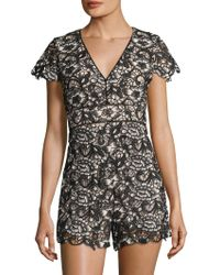 Alice + Olivia - Tinsley Embroidery Romper - Lyst