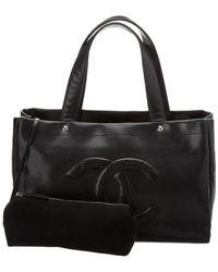 Chanel - Black Caviar Leather Cc Tote - Lyst