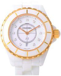 Chanel - J12 White Ceramic Diamond Unisex Watch - Lyst