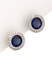 Diana M. Jewels . Fine Jewellery 14k 2.12 Ct. Tw. Diamond & Sapphire Studs - Blue