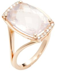 Estate Fine Jewelry | Estate 18k Rose Gold, Morganite & 0.12 Total Ct. Diamond Cocktail Ring | Lyst