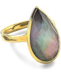 Ippolita - Rock Candy Black Shell Doublet And 18k Yellow Gold Teardrop Ring - Lyst