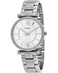 Fossil Carlie T-bar Crystal Bracelet Watch - Metallic
