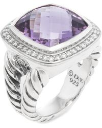 David Yurman David Yurman Silver 14.35 Ct. Tw. Diamond & Amethyst Ring - Metallic