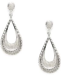 John Hardy - Classic Chain Silver & Pave Diamond Large Teardrop Earrings - Lyst