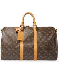 Louis Vuitton - Vintage Leather Keepall 45 Bandouliere Monogram Canvas Duffel Bag - Lyst