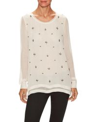 Falcon & Bloom - Silk Embellished Double Layer Blouse - Lyst