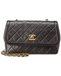 5526e87f198 Chanel - Black Quilted Lambskin Leather Small Border Flap Bag - Lyst