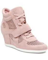 Ash - Bowie Suede Perforated Wedge Trainer - Lyst