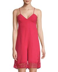 Maje - V-neck Lace-accented Romper - Lyst